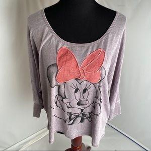 Disney gray/pink Minnie Mouse burnout t-shirt XXL